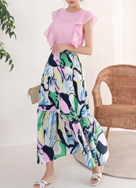 Artistic Abstract Print Maxi Skirt, Styleonme