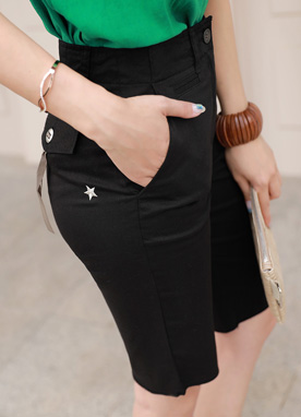 Star Embroidered Burmuda Shorts, Styleonme