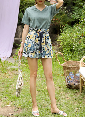 Tropical Print Drawstring Linen Shorts, Styleonme