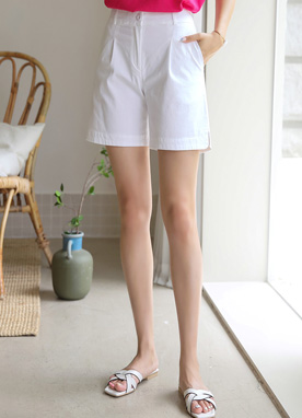 Side Slit Cotton Summer Shorts, Styleonme