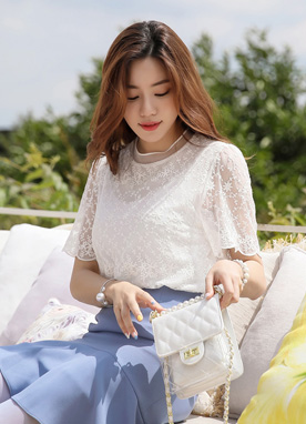 Scallop Trim Short Sleeve Lace Blouse, Styleonme