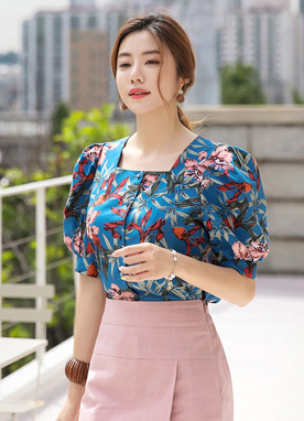 Floral Print Squared Neck Puff Sleeve Blouse, Styleonme