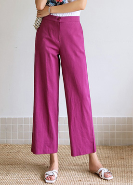 Unique Color Semi-Wide Leg Linen Pants, Styleonme