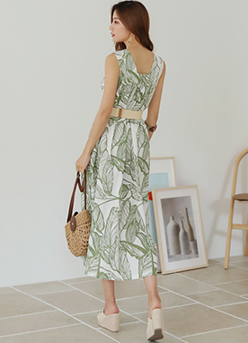 Leaf Print Linen-Blend Sleeveless Long Dress, Styleonme