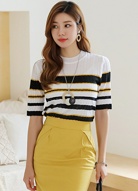 Stripe Half Sleeve Ribbed Knit Tee, Styleonme