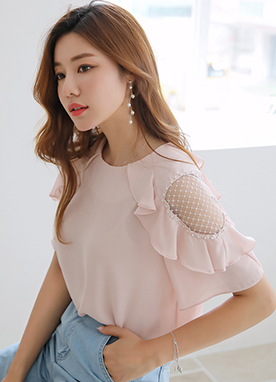 Diamond Lace Ruffle Cold Shoulder Blouse, Styleonme