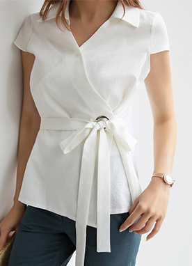 Wrap Design Collared Blouse, Styleonme