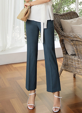 Deep Side Slit Boot-Cut Slacks, Styleonme