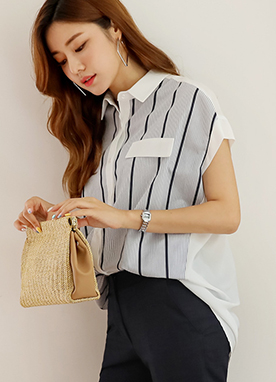 Half and Half Pinstripe Collared Shirt, Styleonme