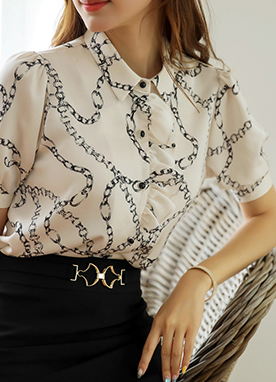 Chain Print Ruffle Detail Collared Blouse, Styleonme