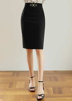 Gold Buckle H-Line Skirt, Styleonme