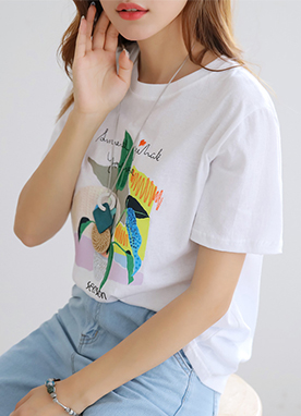 Sequin Detail Plant Embroidered T-Shirt, Styleonme