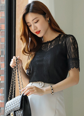 See-through Lace Blouse Tee, Styleonme