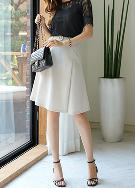 Belted Semi-Flared Mid Skirt, Styleonme