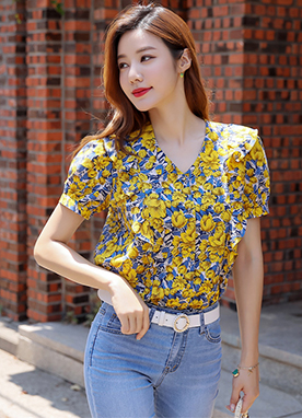 Yellow Floral Print Ruffle Blouse, Styleonme