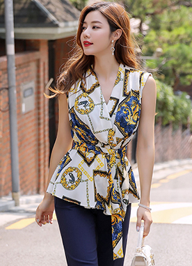Luxury Chain Print Belted Sleeveless Blouse, Styleonme
