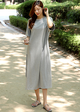 Side Shirred Boxy Long Dress, Styleonme