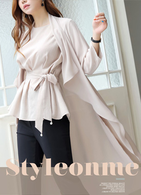 Side Slit Shawl Collar Chiffon Cardigan, Styleonme