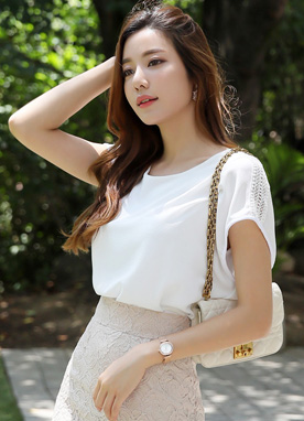 Lace Shoulder Detail Blouse, Styleonme