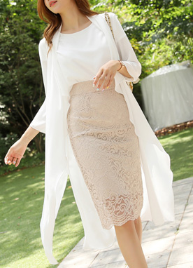 Romantic Lace Pencil Skirt, Styleonme