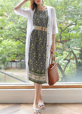 Ethnic Floral Print Wrinkled Long Dress, Styleonme