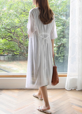 Sheer Waist Tie Long Cardigan, Styleonme