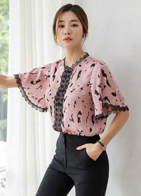 Brush Stroke Print Lace Trim Blouse, Styleonme