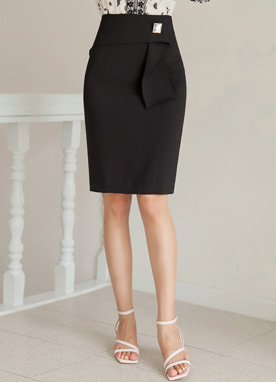 Squared Cubic Accent H-Line Skirt, Styleonme