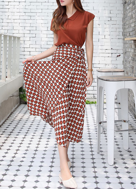 Circle Flower Print Wrap Maxi Skirt, Styleonme