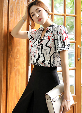 Abstract Print Puff Sleeve Blouse, Styleonme