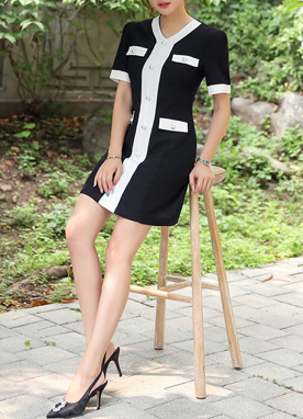 Classic Black and White Pearl Accent Dress, Styleonme