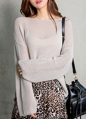 Loose Fit Semi-Sheer Knit Top, Styleonme