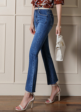 Slim Line Front Slit Boot-Cut Jeans, Styleonme
