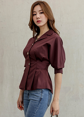 Gold Button Pleated Peplum Blouse, Styleonme