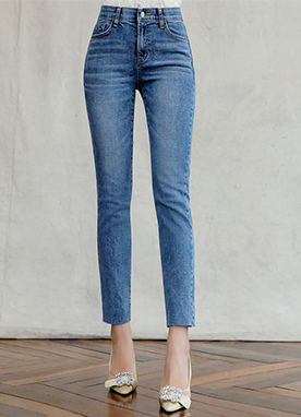 Blue Wash Whisker Straight Leg Jeans, Styleonme