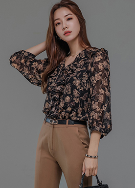 Floral Print V-Neck Ruffle Blouse, Styleonme