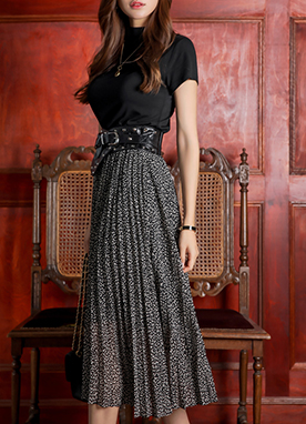 Leopard Print Long Pleated Skirt, Styleonme