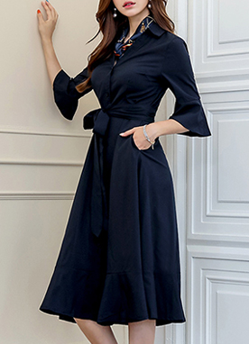 Collared Button-Up Flared Dress, Styleonme
