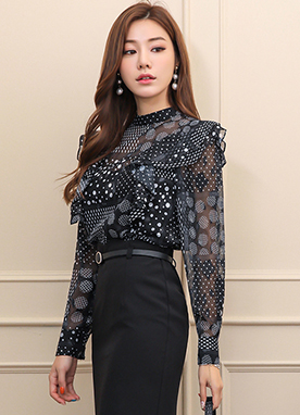 Dot Mix Print Ruffle Shoulder Chiffon Blouse, Styleonme