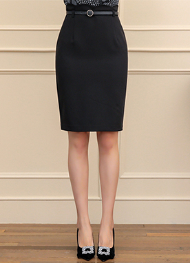 Scallop Trim Belted H-Line Skirt, Styleonme