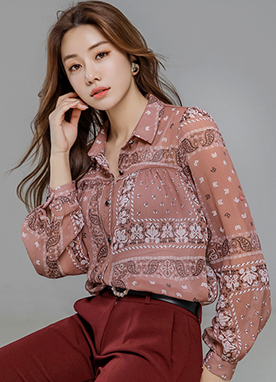 Ethnic Paisley Print Collared Blouse, Styleonme