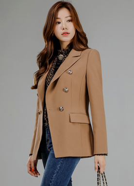 Gold Button Double-Breasted Tailored Jacket, Styleonme