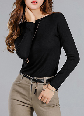 Boat Neck Rayon Long Sleeve Tee, Styleonme
