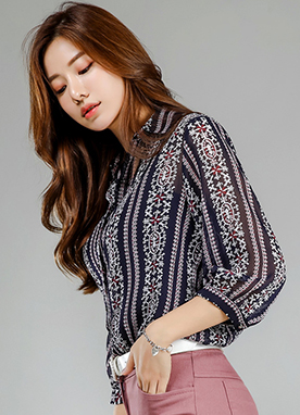 Ethnic Print Collared Blouse, Styleonme