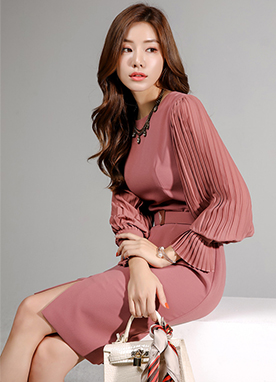 Soft Pleated Sleeve Dress, Styleonme