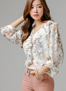 Cream Color Floral Print Ruffle Blouse, Styleonme