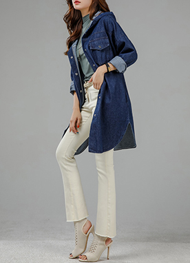 Hooded Denim Safari Jacket, Styleonme