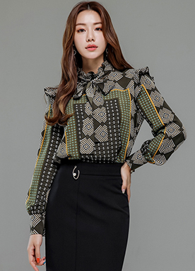 Mix Square Pattern Frill Detail Blouse, Styleonme