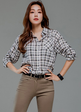 Check Print Front Pocket Collared Shirt, Styleonme