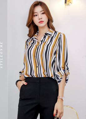 Mix Color Pinstripe Collared Blouse, Styleonme